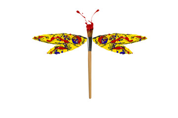 Red yellow blue paint made dragonfly