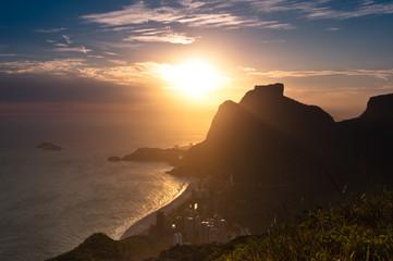 Scenic Rio de Janeiro Sunset Behind Pedra da Gavea