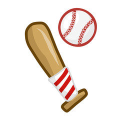 Baseball bat and ball isolated illustration