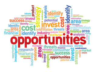 Opportunities business concept in word tag cloud, vector