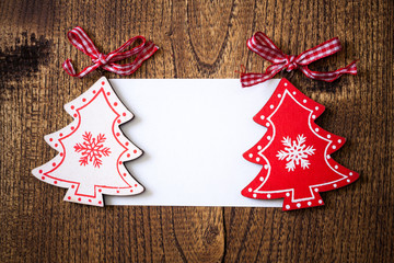 Blank greeting card for Christmas with ornaments