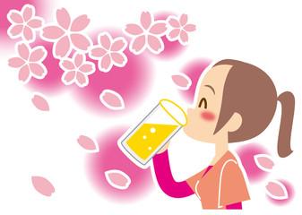 春 生ビールが旨くて幸せ 若い女性