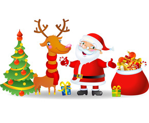 Santa Claus and Reindeer with a bag of Christmas Gifts