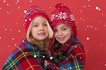 Fotobehang Carnaval Composite image of festive little girls smiling at camera