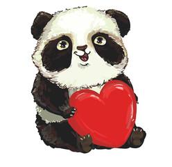 Vector Panda. Panda baby. valentine's day