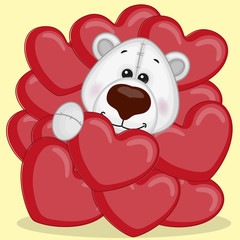Polar Bear in hearts