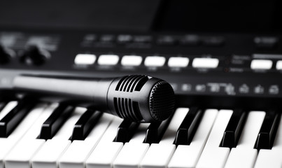 Microphone on a keyboard (close up)