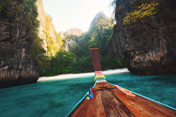 view from a boat on a tropical island
