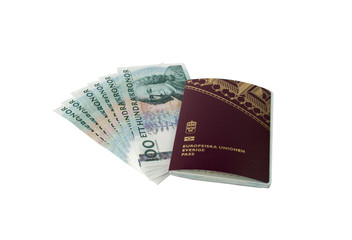 Swedish passport and money