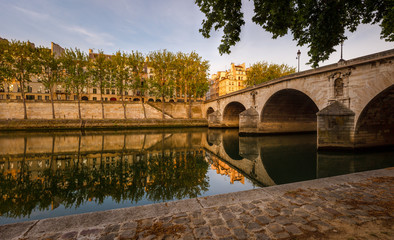 Ile Saint Louis and Pont Marie, River Seine banks in Paris, Fran