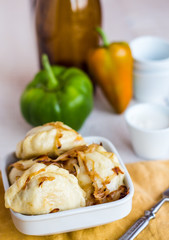 dumplings with cabbage and fried onions, Ukrainian cuisine