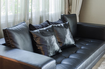 black sofa in living room at home