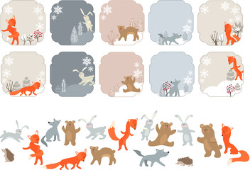 Winter labels with forest animals. Animals isolated on white.