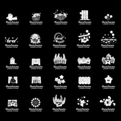 Movie Theatre Icons Set - Isolated On Black Background - Vector Illustration, Graphic Design Editable For Your Design