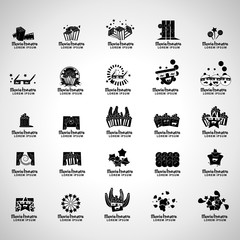 Movie Theatre Icons Set - Isolated On Gray Background
