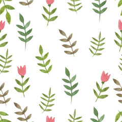Nature seamless pattern watercolor hand drawn leaf and simple