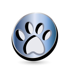 Blue dog footprint logo vector