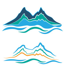 Set of stylized logos alpine landscape mountains