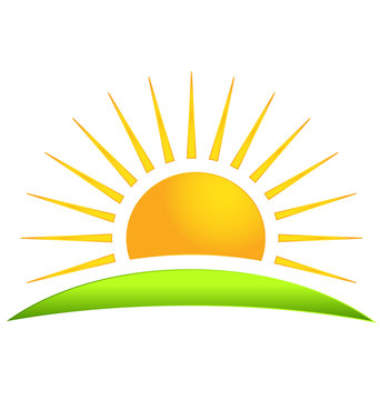 Green hill with sun logo vector icon