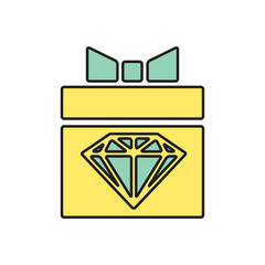 Vector present with diamond icon. Eps10