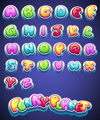 Set of cartoon colored letters for decoration of different names