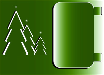 green christmas trees with notebook