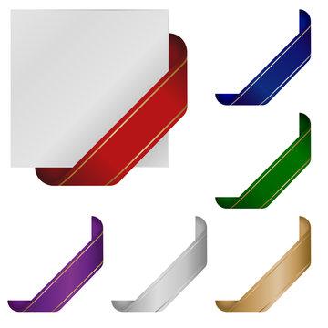 Blank corner ribbons in various colors