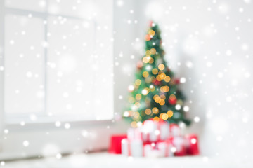 room with christmas tree and presents background