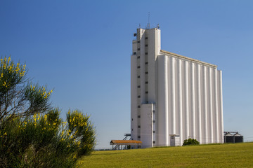 View of a big storage silo structure for grains.