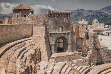 Roman ruins theatre in Cartagena, Spain