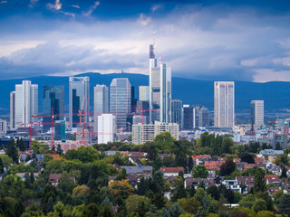 Skyline with business buildings in Frankfurt, Germany