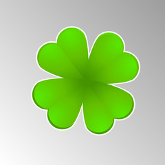 Vector leaf clover for luck with an edge