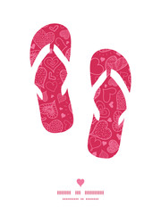 Vector doodle hearts flip flops silhouettes pattern frame