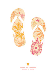Vector warm stars flip flops silhouettes pattern frame