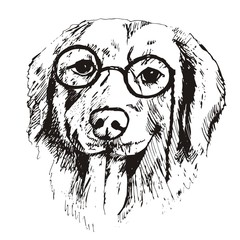 Foto op Canvas Hand getrokken schets van dieren собака