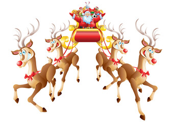 Santa Claus riding sleigh with toys, four reindeer isolated