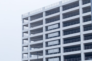 car park building, many storey white new car park empty building