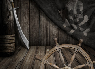 Keuken foto achterwand Schip Pirates ship steering wheel with old jolly roger flag and saber
