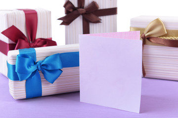 Cute presents with greeting card