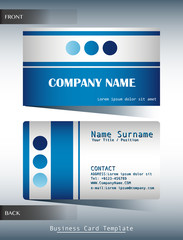 A blue and grey calling card