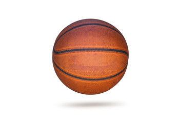 Old basketball on white background
