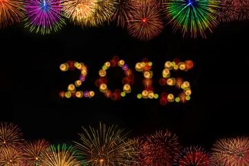 2015 year celebration with fireworks