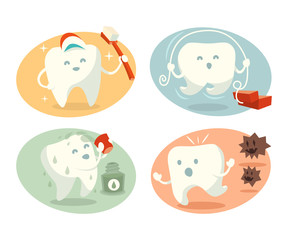 Cute tooth in different situations. Vector illustration.