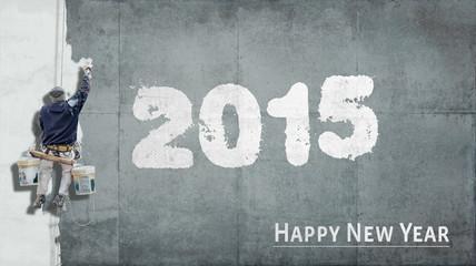 Happy New Year 2015 on facade
