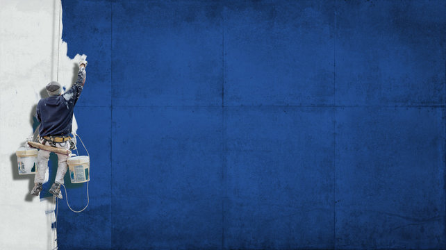 Industrial paint blue background