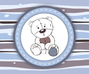 Cute teddy bear label card in blue and brown