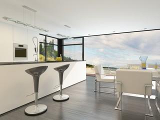 Modern open plan kitchen with a bar counter