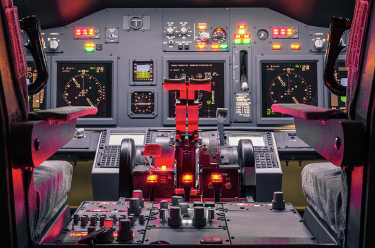 Cockpit of an homemade Flight Simulator - Aerospace concept