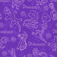 Vector pattern with cartoon and funny dinosaurs in violet