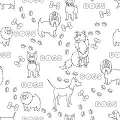 Vector seamless pattern with cartoon funny dogs in white